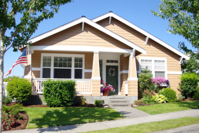 A nicely landscaped recently built single family home.